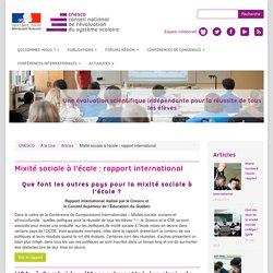 Mixité sociale à l'école : rapport international