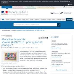 Aides sociales -Allocation de rentrée scolaire(ARS) 2018: pour quandet pour qui ?