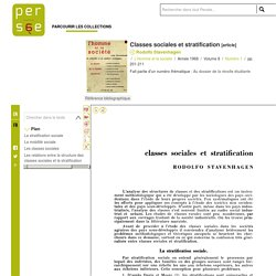 Classes sociales et stratification