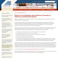 Guide sur la socialisation des étudiants en formation à distance au Canada francophone