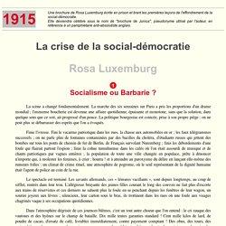Socialisme ou Barbarie ? (La crise de la social-démocratie)