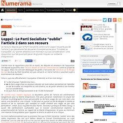 """Loppsi : Le Parti Socialiste """"oublie"""" l'article 2 dans son recours"""