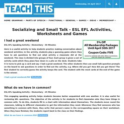 Socializing Small Talk ESL EFL Activities Worksheets Games