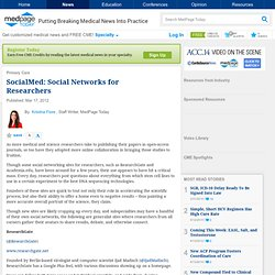 SocialMed: Social Networks for Researchers - in Primary Care, General Primary Care from MedPage Today