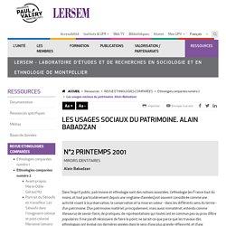 Les usages sociaux du patrimoine. Alain Babadzan