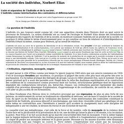 La societe des individus, Norbert Elias