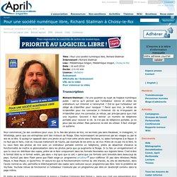 Pour une société numérique libre, Richard Stallman à Choisy-le-Roi