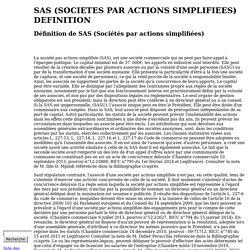 SAS (Sociétés par actions simplifiées)