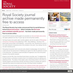 Royal Society journal archive made permanently free to access