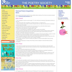 The Poetry Society (National Poetry Competition Rules)