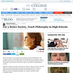 For a Better Society, Teach Philosophy in High Schools