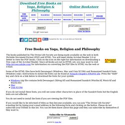 The Divine Life Society--Free Books on Yoga, Religion and Philosophy