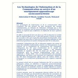 Les TIC au service d'un enseignement-apprentissage socioconstructiviste