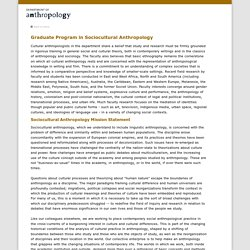 Graduate Program in Sociocultural Anthropology, Anthropology