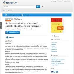 Int J Public Health (2010) 55:469–478 Socioeconomic determinants of outpatient antibiotic use in Europe