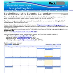 Sociolinguistic Events Calendar