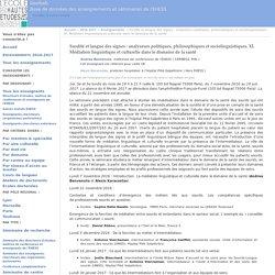 Enseignement 2016-2017 — Surdité et langue des signes : analyseurs politiques, philosophiques et sociolinguistiques. XI. Médiation linguistique et culturelle dans le domaine de la santé : HABU