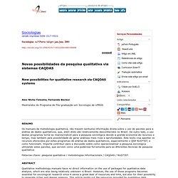 Sociologias - Novas possibilidades da pesquisa qualitativa via sistemas CAQDAS