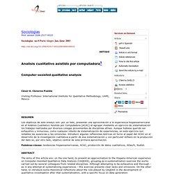 Sociologias - Computer-assisted qualitative analysis