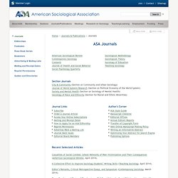 American Sociological Association: Journals