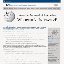 American Sociological Association: ASA Wikipedia Initiative