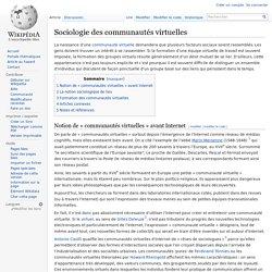 Sociologie des communautés virtuelles