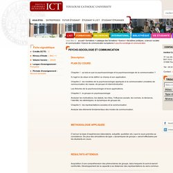 Psycho-Sociologie et Communication - Institut Catholique de Toulouse