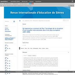 Qu'apprend-on vraiment de Pisa? Sociologie de la réception d'une enquête internationale dans trois pays européens (2001-2008)