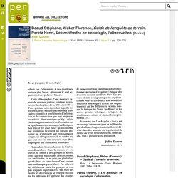 Guide de l'enquête de terrain, Beaud Stéphane, Weber Florence