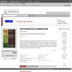 Sociologie de la traduction - Presses des Mines