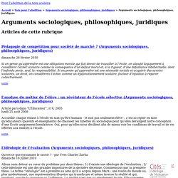 [Pour l'abolition de la note scolaire] : Arguments sociologiques, philosophiques, juridiques