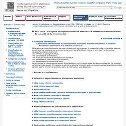 Définitions et méthodes - PCS 2003 - Catégorie socioprofessionnelle détaillée 43Professions intermédiaires de la santé et du travail social