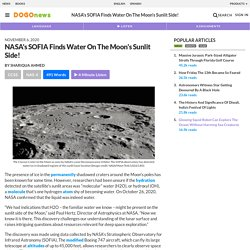 NASA's SOFIA Finds Water On The Moon's Sunlit Side! Kids News Article