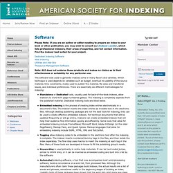 American Society for Indexing: Software