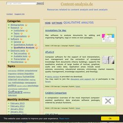 Software for content analysis and text analysis: Qualitative analysis