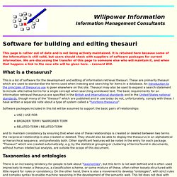 Software for building and editing thesauri