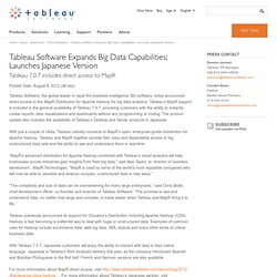 Tableau Software Expands Big Data Capabilities; Launches Japanese Version