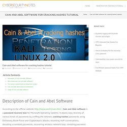Cain and Abel software for cracking hashes tutorial