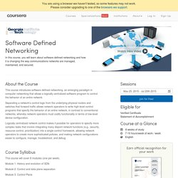 Software Defined Networking course GA Tech