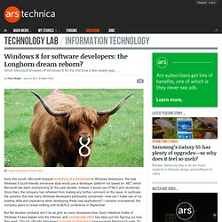 Windows 8 for software developers: the Longhorn dream reborn?