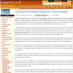 Job Search Skill in Software Development - Interview Strategy