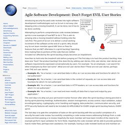 Agile Software Development: Don't Forget EVIL User Stories