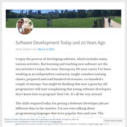 Software Development Today and 20 Years Ago