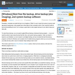 Best free file backup, drive backup (aka imaging), and system backup software