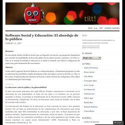 Software Social y Educación: El abordaje de lo público « tilt!