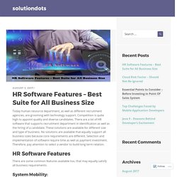 HR Software Features – Best Suite for All Business Size – solutiondots