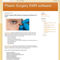 Plastic Surgery EMR software: Plastic Surgery EMR software increases the efficiency of work: