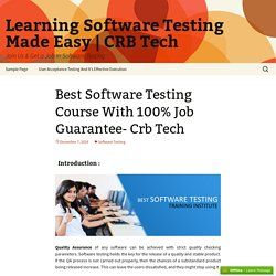Software Testing Training Course-CRB Tech