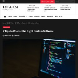 5 Tips to Choose the Right Custom Software internet has brought