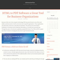 HTML to PDF Software a Great Tool for Business Organizations